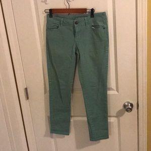 Sea foam green skinny jeans